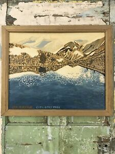Original Old  ABSTRACT Painting EARL GREY PASS CANADAPicture