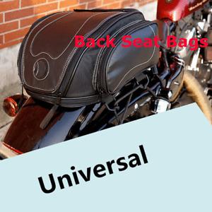 Universal Motorbike PU Leather Seat Side Rear Storage Bag Moto Accessories Black