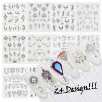 24 Design Nail Art Stickers Water Decals Transfers Feathers Cat Sketch