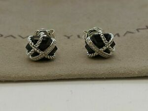 David Yurman Sterling Silver 10mm Black Onyx & Diamond Cable Wrap Stud Earrings