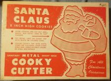 Vintage Santa Claus Christmas Holiday Cookie Cooky Cutter Boxed Metal 8 inch