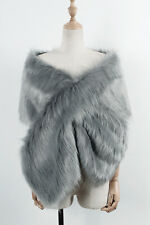 Faux Fur Wedding Bridal Shawl Winter Wrap Prom Shrug Bolero Cape Jacket Coats
