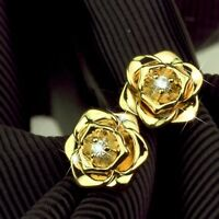 AEIWO 18k yellow gold gf stud made with Swarovski crystal rose flower earrings