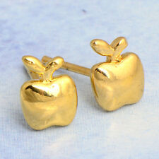 Fashion cute womens Small 14k Yellow Gold Filled Apple Stud earings jewelry