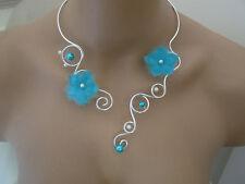 Collier Bleu Turquoise/Argenté/Ivoire Fleur robe Mariée/Mariage/Soirée pas cher