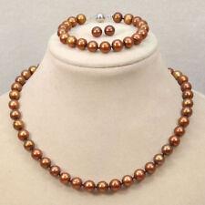 7-8mm Genuine Natural Freshwater Coffee Pearl Necklace&Bracelet&Earring JN1627