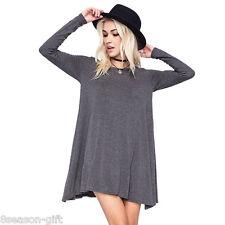 HOT Women Lady Casual Cewneck Long Sleeve Dress Solid Color Loose Slim Dress GW