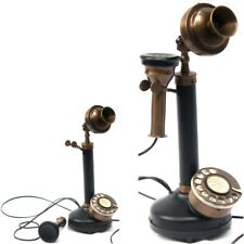 Vintage Candlestick Phone Full Brass Telephone Wired Landline Rotary Dial Homes.