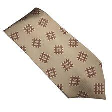 Giorgio Armani Designer Tan and Brown Necktie Tie 100% Silk Made In Italy NWT