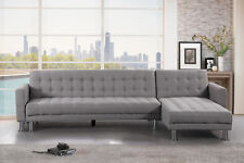 Velago Attalens - Modern Fabric L Shape Convertible Sectional Sleeper Bed Sofa
