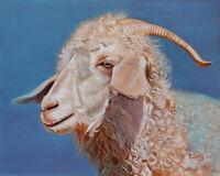 "Angora goat portrait, Original artwork oil painting on canvas, animal 16''x20"""