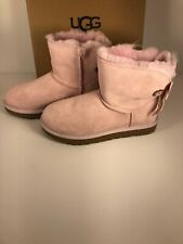 UGG Bailey Bow Mini Customizable Seashell Pink Size 8 Suede Women's 1100212