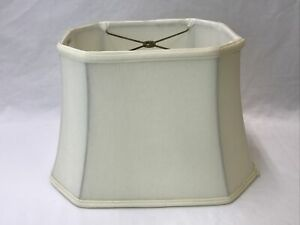 """Ivory Cream Rectangle Bell Lamp Shade Cut Corner Square Traditional 15""""x10""""x10""""H"""