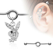 "1 Pc Officially Licensed 14g 1&1/2"" Paved C.Z. Playboy Dangle Industrial Barbell"