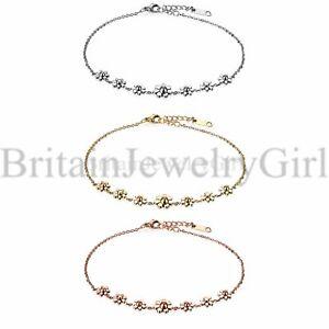 Women Stainless Steel Daisy Flowers Anklet Foot Bracelet Chain Jewelry Gift