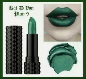 Kat Von D Studded Kiss Lipstick PLAN 9 Green 3.0g Rare Vegan KVD FAST POSTAGE