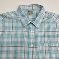 Haggar Clothing Button Up Shirt Men's 2XL XXL Short Sleeve Blue White Plaid Poly