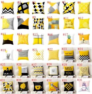 "18"" Yellow Geometric Pillowcase Throw Waist Cushion Cover Car Home Sofa Decor"