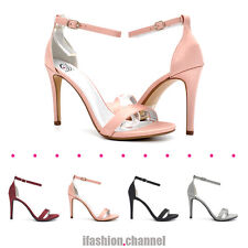 MyDelicious Women Ankle Strap Open Toe Stiletto Heel Satin Dress Sandal Jaiden