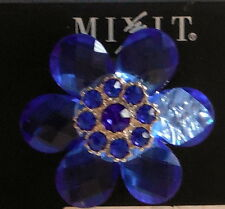 Fashion jewelry blue FLOWER COCKTAIL RING stretch