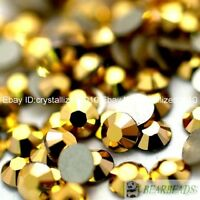 1440Pcs Metallic Gold Top Czech Crystal Flatback Rhinestone Nail Art No Hotfix
