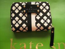 designer Small Zip Around Wallet  Kate Spade NY New York logo black white zipper