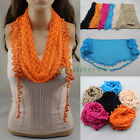 Fashion Embroidery Lace Crochet Oval Triangle Mantilla Scarf Shawl Wrap Tassel