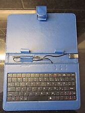 "Blue USB Keyboard PU Leather Carry Case/Stand for DISGO Busbi 7"" Tablet - 4 GB"