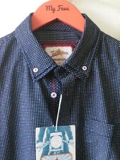 JOE BROWNS SHIRT BNWT Long Sleeve Double Collar Black Blue Polka Dot Cotton Sz S