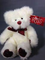 "Russ Berrie Teddy Bear TWINKLES Plush Sparkles Ruby Red Stuffed Animal 9"""