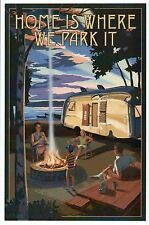 Home Is Where We Park It, Camping, Camper & Lake, RV, Fire etc - Modern Postcard