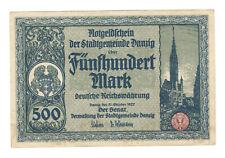 Ro 793 / DAN17: Notgeldschein der Freien Stadt Danzig 500 Mark vom 31.10.1922