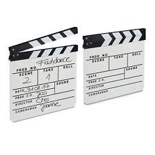 2x Filmklappe Holz, Regieklappe weiß, Szenenklappe, Clapperboard zum Beschriften