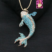 Betsey Johnson Enamel Crystal Goldfish Pendant Sweater Chain Women's Necklace