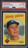1959 Topps BB Card #495 Johnny Podres Los Angeles Dodgers PSA NM-MT 8 !!!