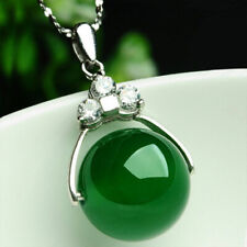 5pcs Natural China Green Agate Chalcedony Pendants Lucky Bead Hanging Pendant
