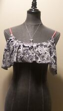*Shi Swim* Jrs Large Gray/Wht/Peach Rose Lined Wire Free Ruffled Bikini Top