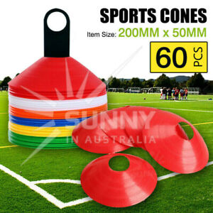 60 DISC MARKERS TRAINING CONES FOOTBALL SOCCER RUGBY AFL TOUCH GROUP FITNESS NEW