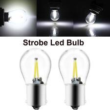 2Pcs P21W BA15S 1156 LED Bulbs COB 48SMD Filament Strobe Flash Light Lamp 12V
