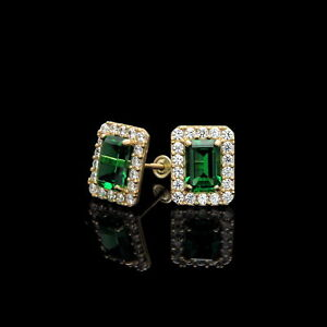 1.50CT Emerald Cut Green Halo Created Diamond Stud Earrings 14k Yellow Gold
