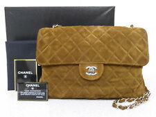 rk5116 Auth CHANEL Brown Quilted Suede Leather Soft Jumbo Chain Shoulder Bag