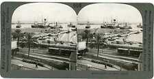 Algeria ~ ALGIERS Ships In Harbor Train Railroad Cars Stereoview 17000 ve556b fx