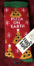 Holiday Lounge Socks: PIZZA ON EARTH~Mens Lucky Socks~One SZ 10-13/Shoe SZ 9-12