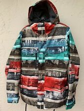 BURTON DRYRIDE WHITE COLLECTION SNOWBOARD COLORFUL MUSIC FESTIVALS JACKET SZ M