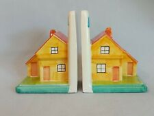 Used Hand Painted  Ceramic Bookends Featuring a House - Bespoke Item