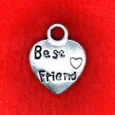 8 x Tibetan Silver Best Friend Love Heart Charm Pendant Finding Beading Making