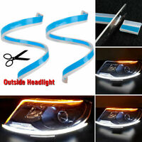 2x Sequential LED Strip Turn Signal Indicator DRL Daytime Running Light for Car