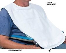 6 new adult terry cloth bibs w/ easy closures white
