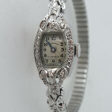 Normandie Art Deco Platinum Ladies Watch with Diamond Bezel.