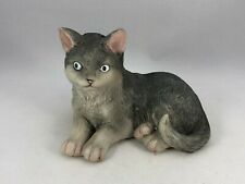 Vintage Realistic Gray Cat Kitten Resin Figurine Sculpture